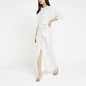 Witte maxi-jurk met lovertjes