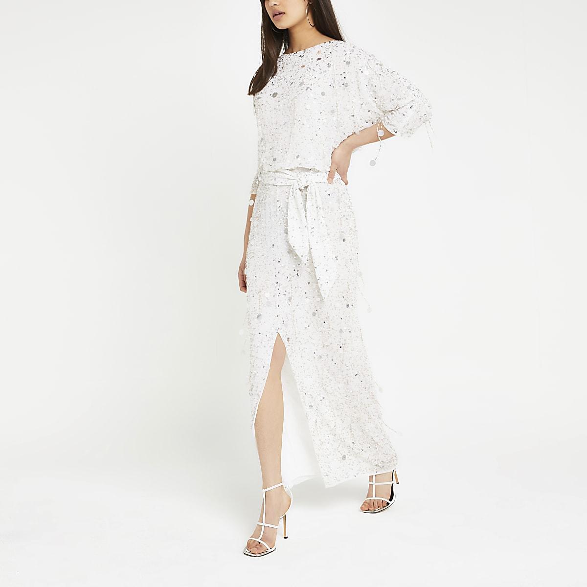 White sequin embellished maxi dress