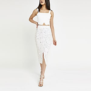 White sequin embellished skirt