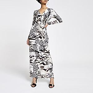 Braunes Maxikleid mit Animal-Print