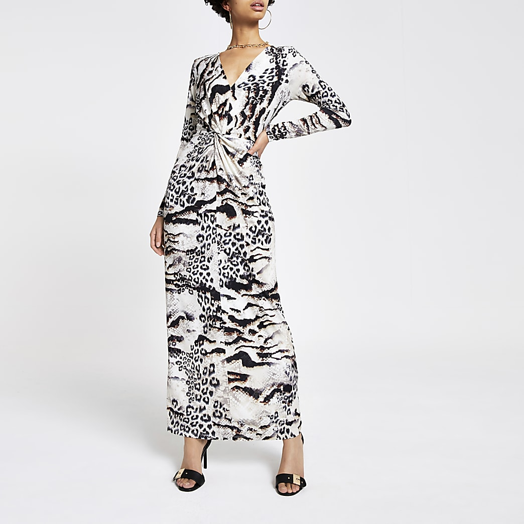 Robe longue à imprimé animal marron