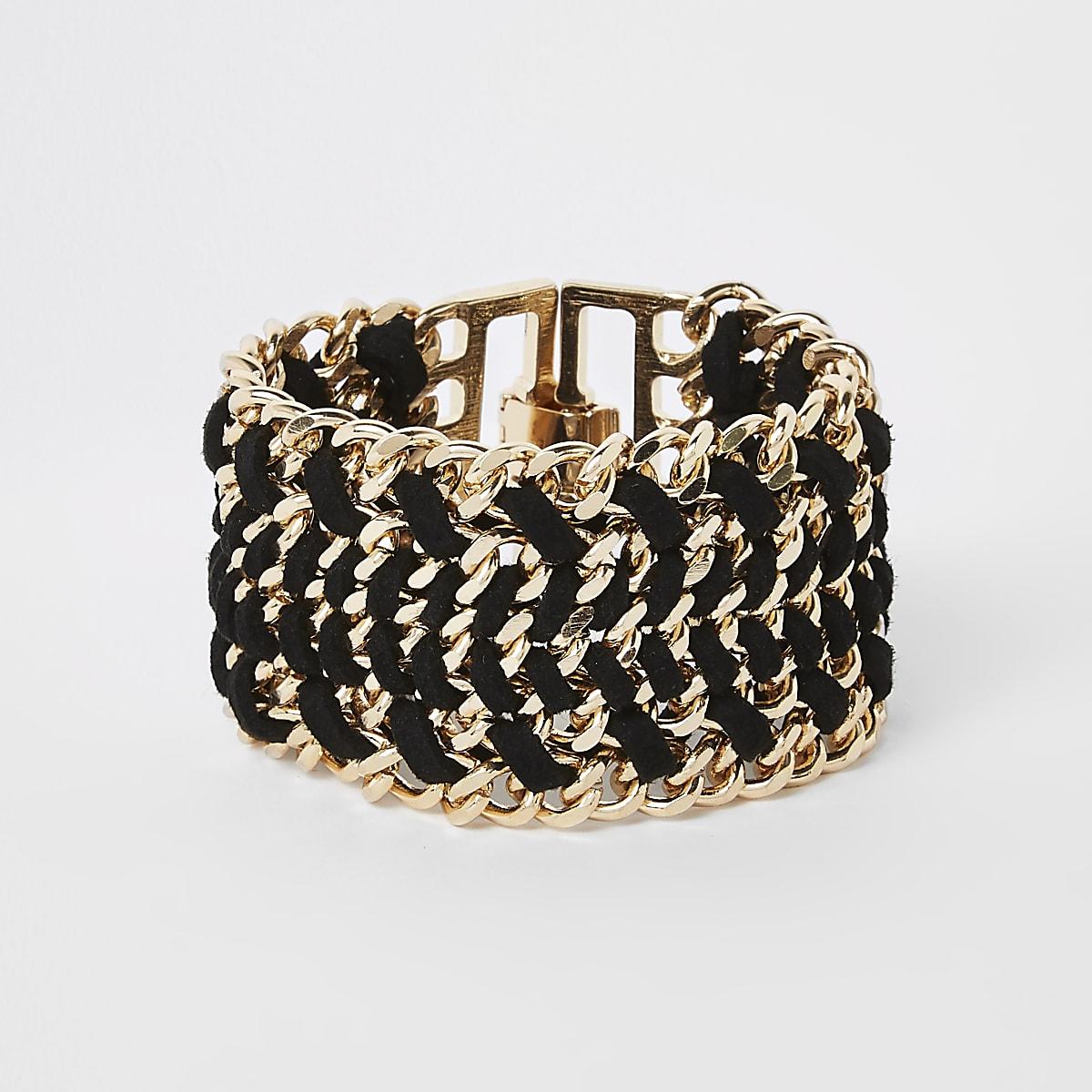 Gold colour black thread clasp bracelet