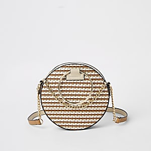 Beige weave circle cross body bag