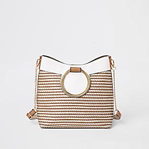 Beige ring handle weave tote bag