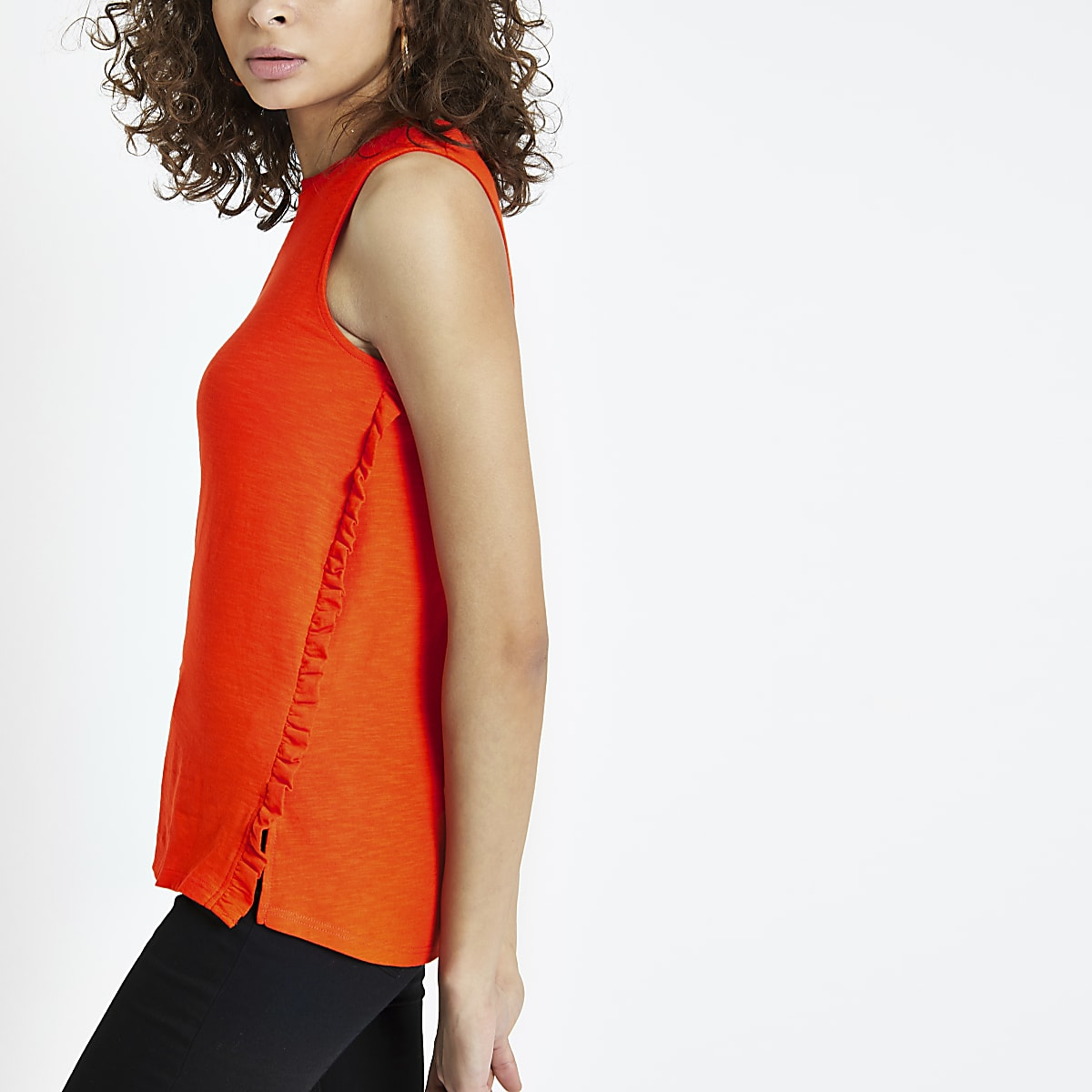 Red frill trim cut out vest