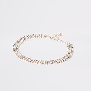 Rose gold colour diamante anklet