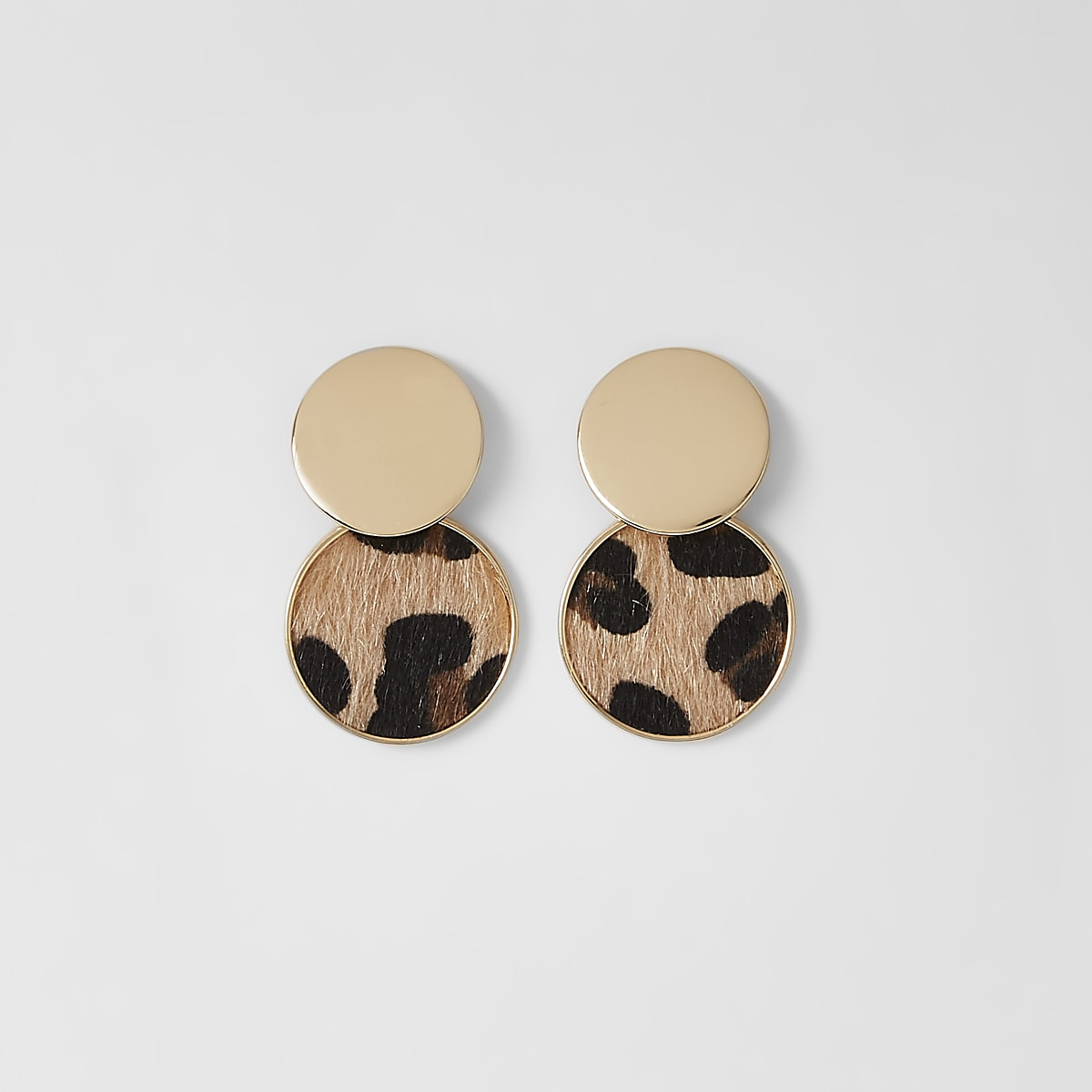 Gold colour leopard circle drop earrings