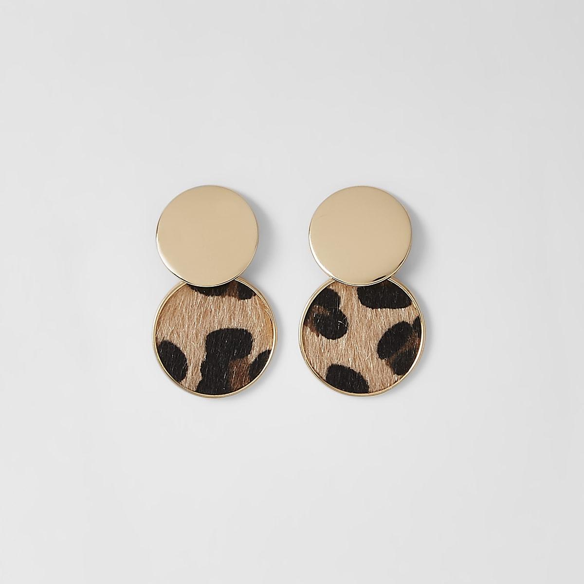 Gold color leopard circle drop earrings