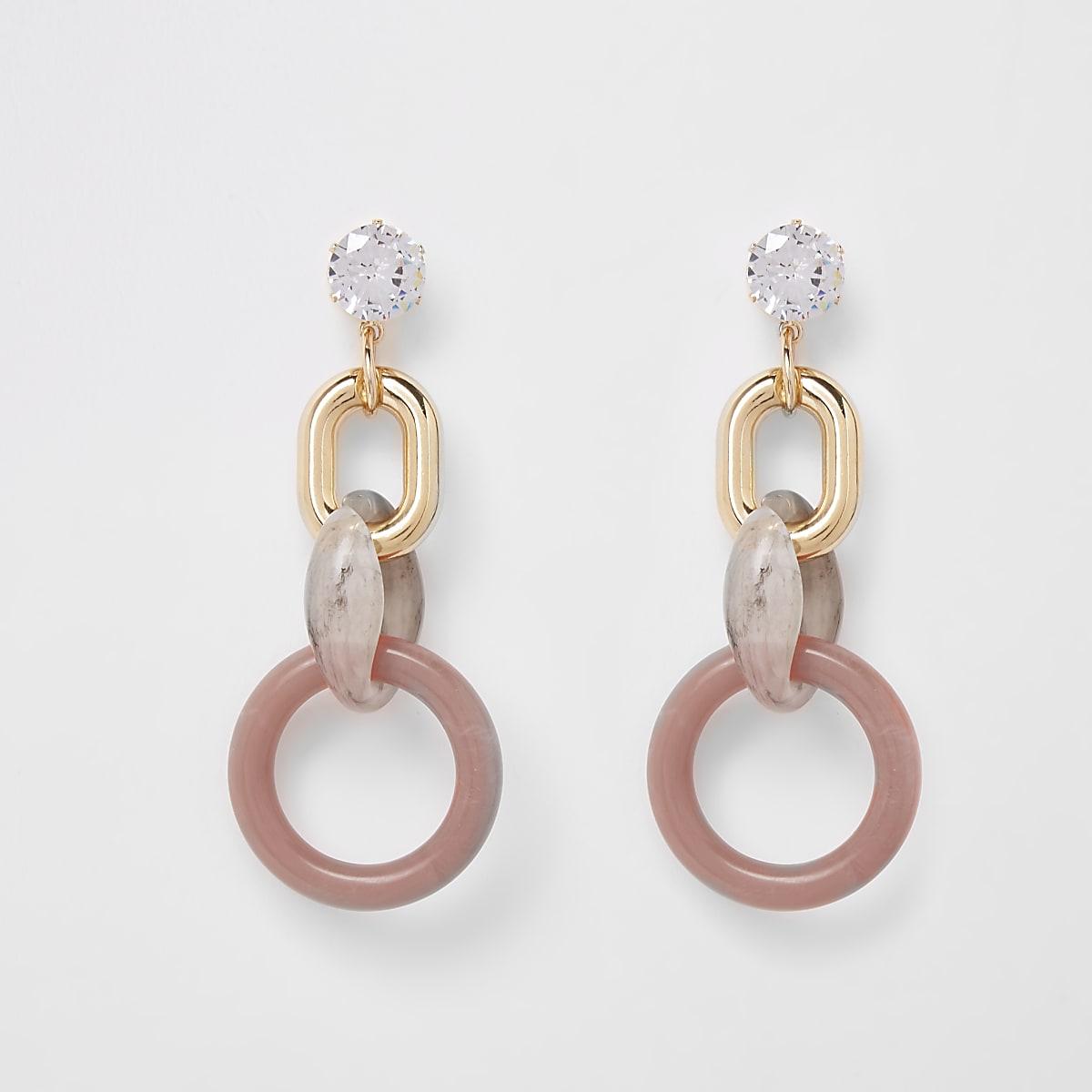 Pink diamante dangle stud earring