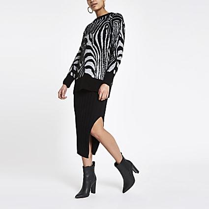 Black zebra face print jumper