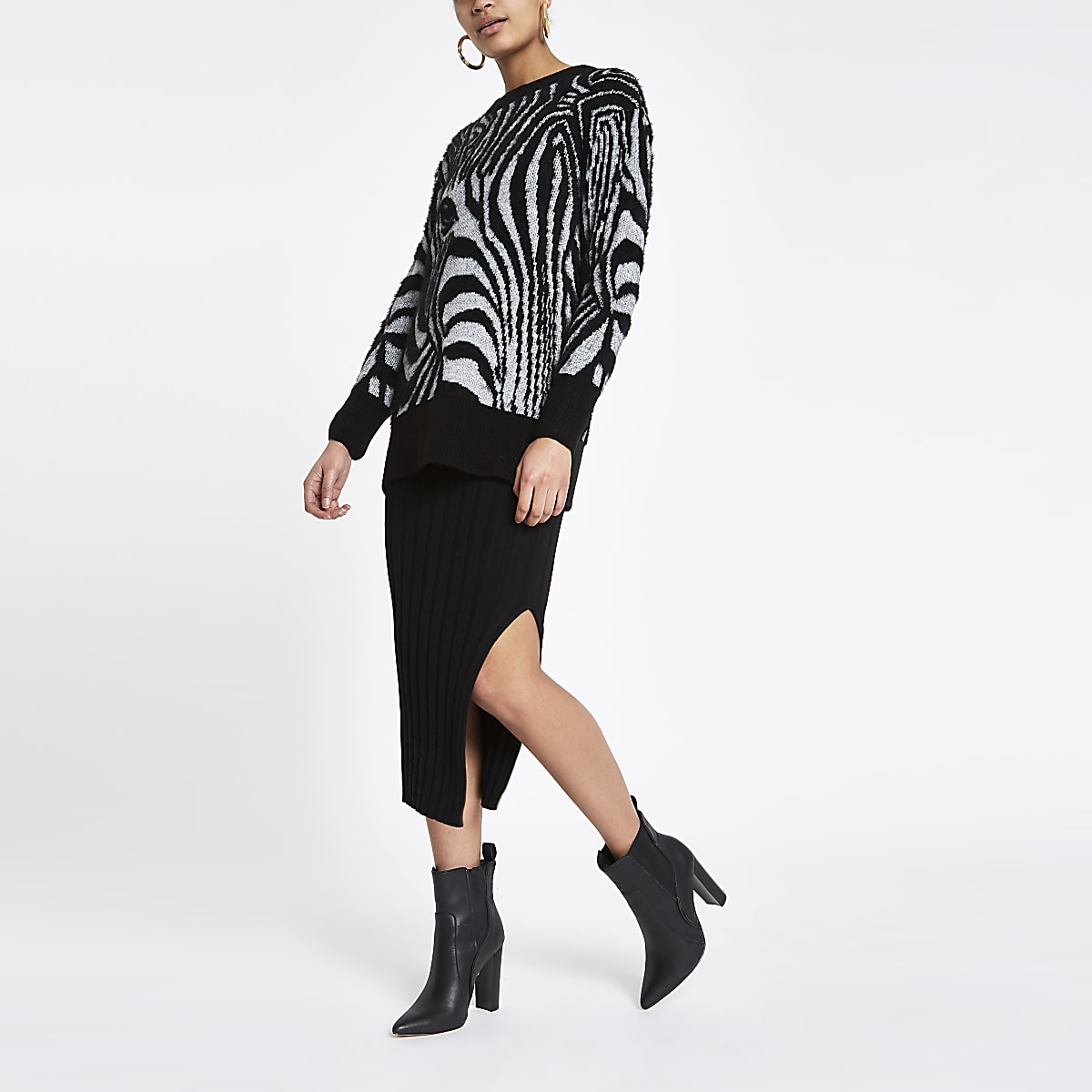 Black zebra face print sweater