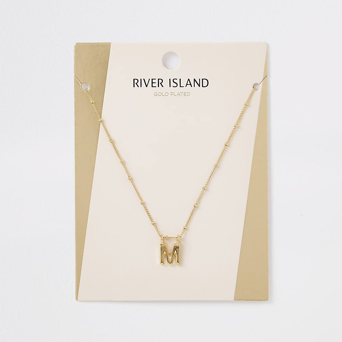 Gold plated 'M' initial necklace