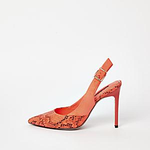 Escarpins à imprimé serpent orange avec bride arrière