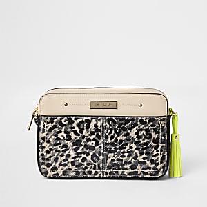 Sac bandoulière léopard marron avec détail fluo