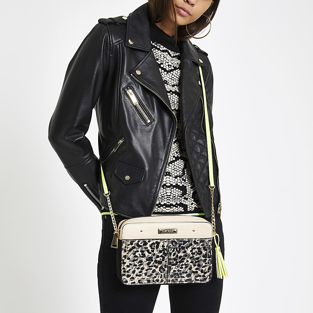 2394a8fb8e Brown leopard print neon cross body bag