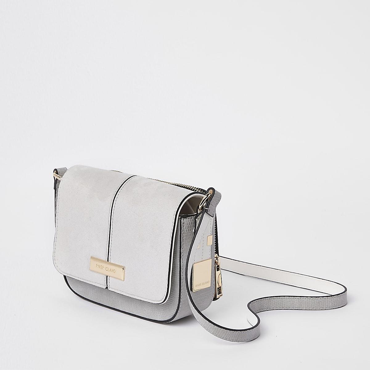 Light grey zip back cross body bag