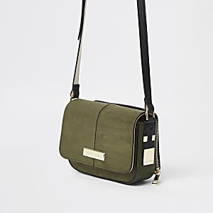 Khaki zip pouch cross body bag