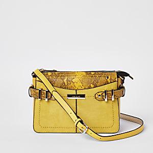Yellow snake print cross body bag