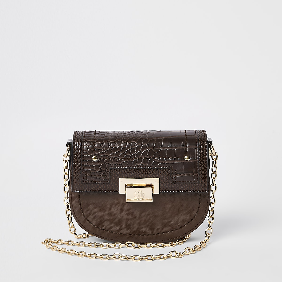 Brown saddle lock front chain cross body bag