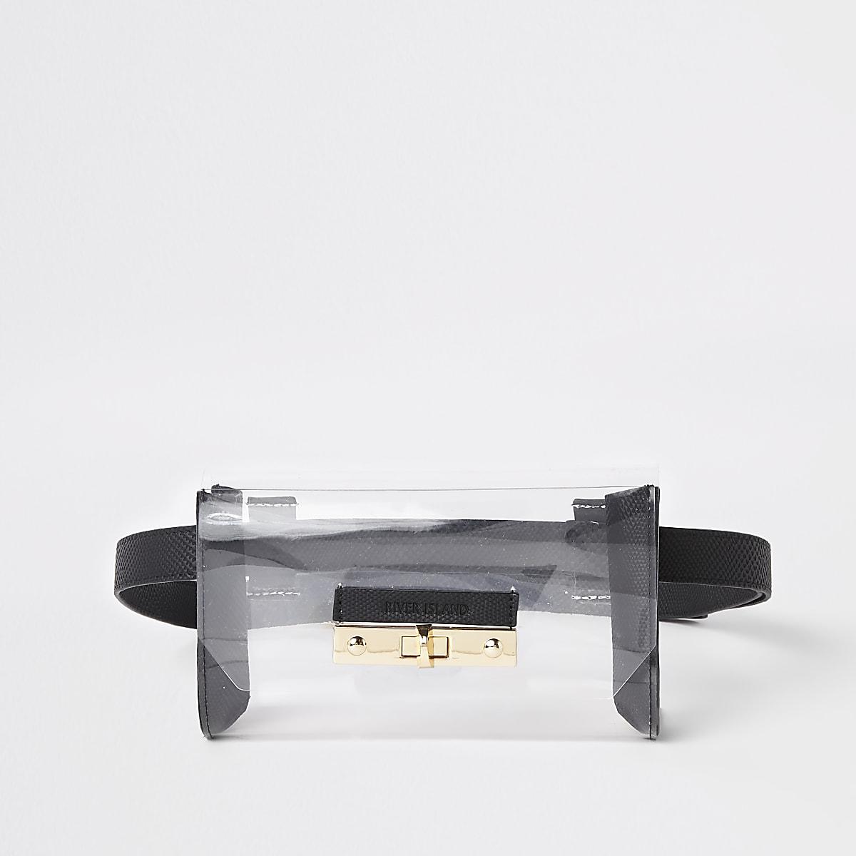 Black perspex lock front belted bum bag