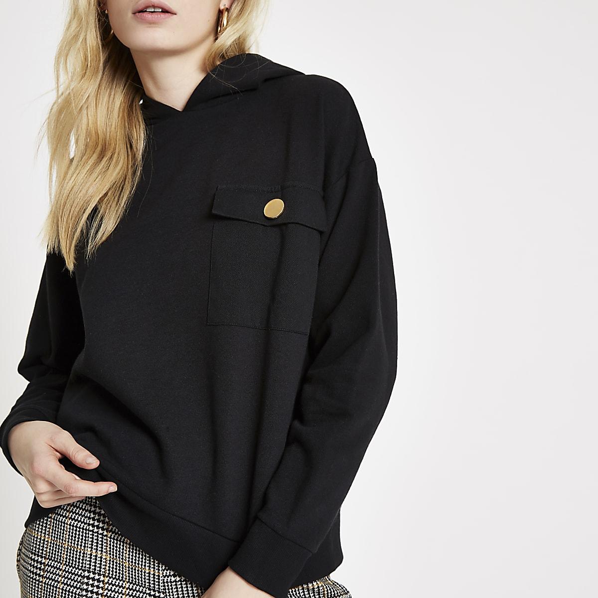 Black chest pocket hoodie