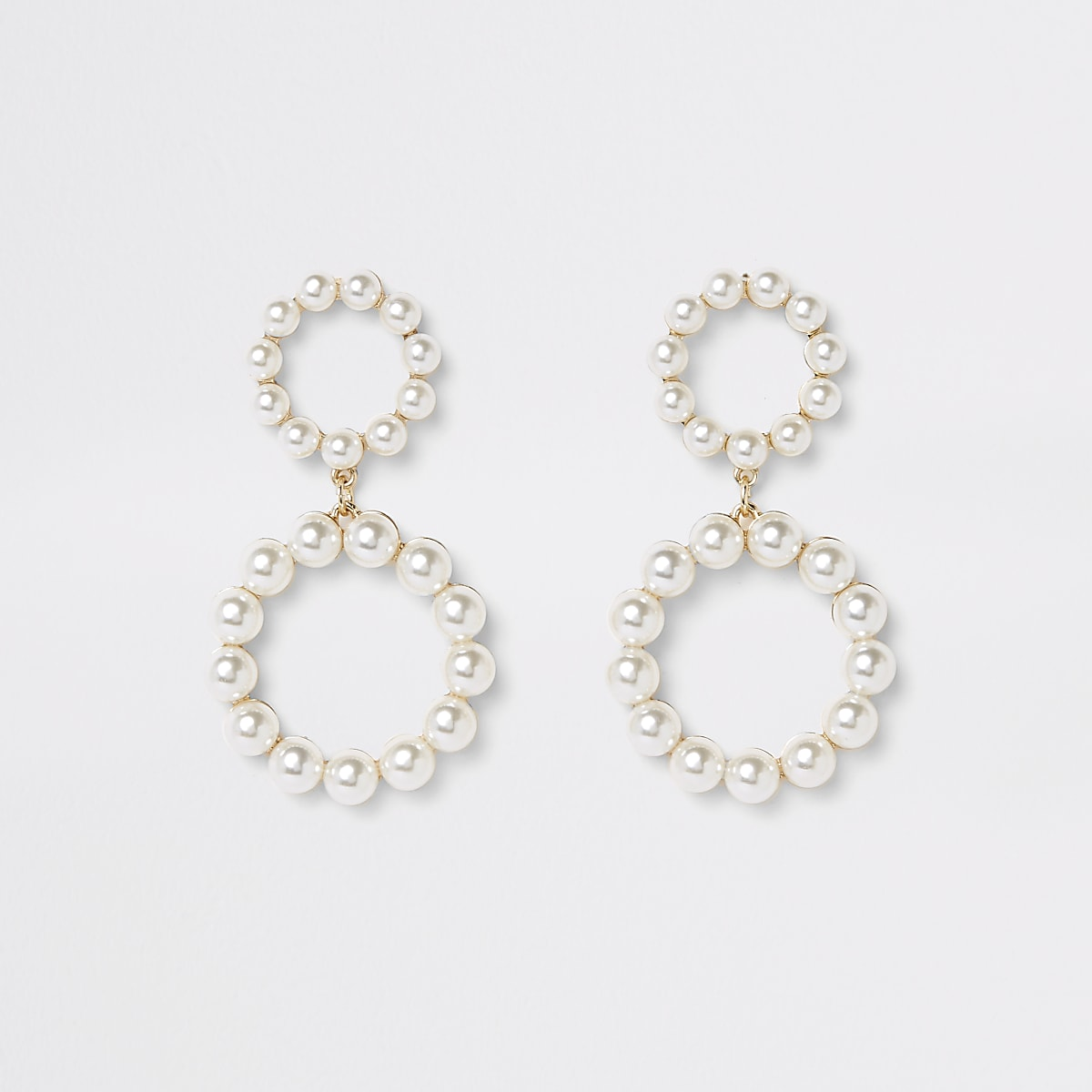 Gold color pearl double ring drop earrings