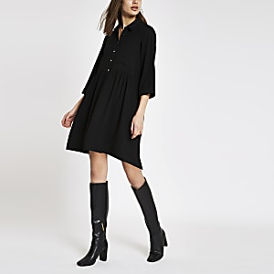 Black mini shirt dress
