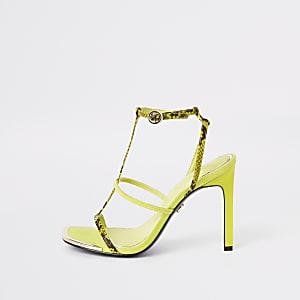 Sandales jaune fluo à talons et brides