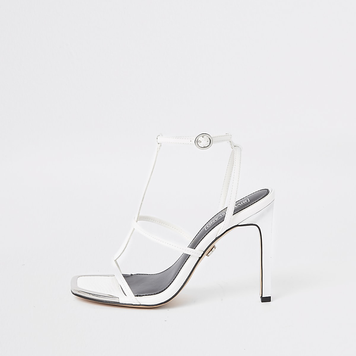 White strappy heel sandals