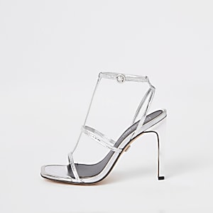 Silver strappy heel sandals