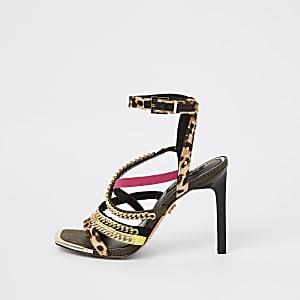 Brown leopard print chain strap heel sandal