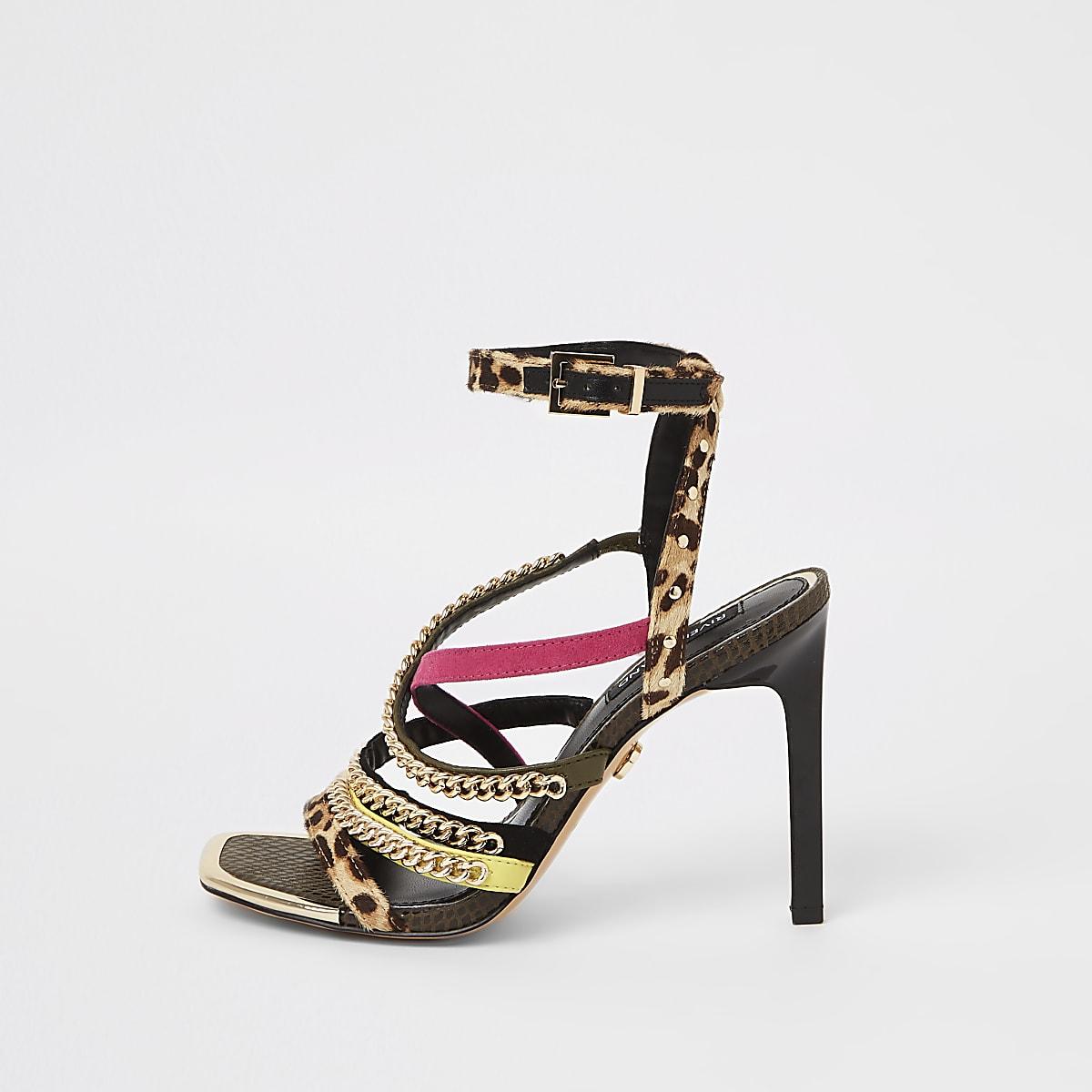 15c03413cfb0 Brown leopard print chain strap heel sandal - Sandals - Shoes & Boots -  women