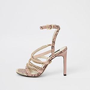 Pink multi chain strap heel sandal