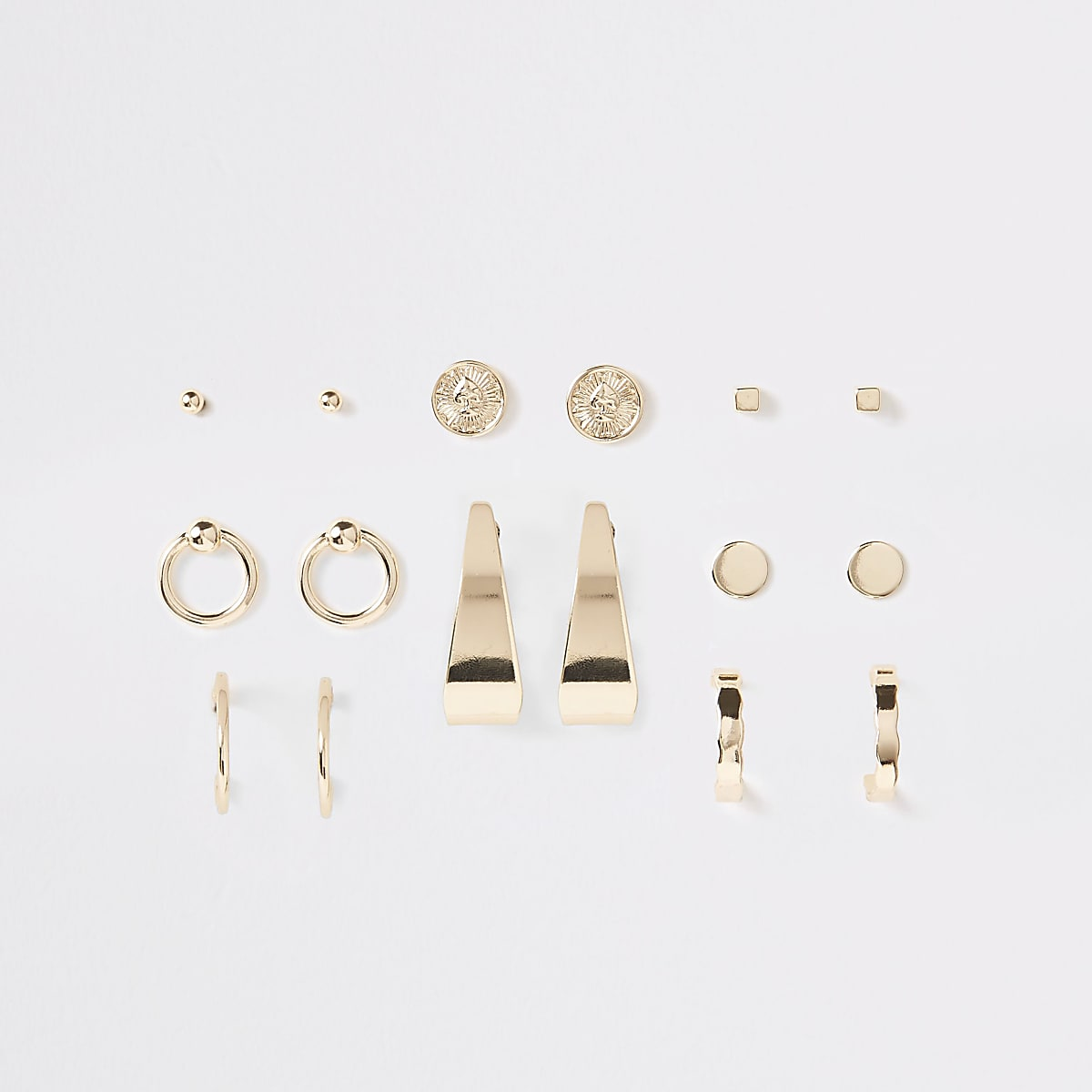 Gold color coin and hoop stud earrings pack
