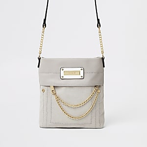 Grey chain zip front cross body bag