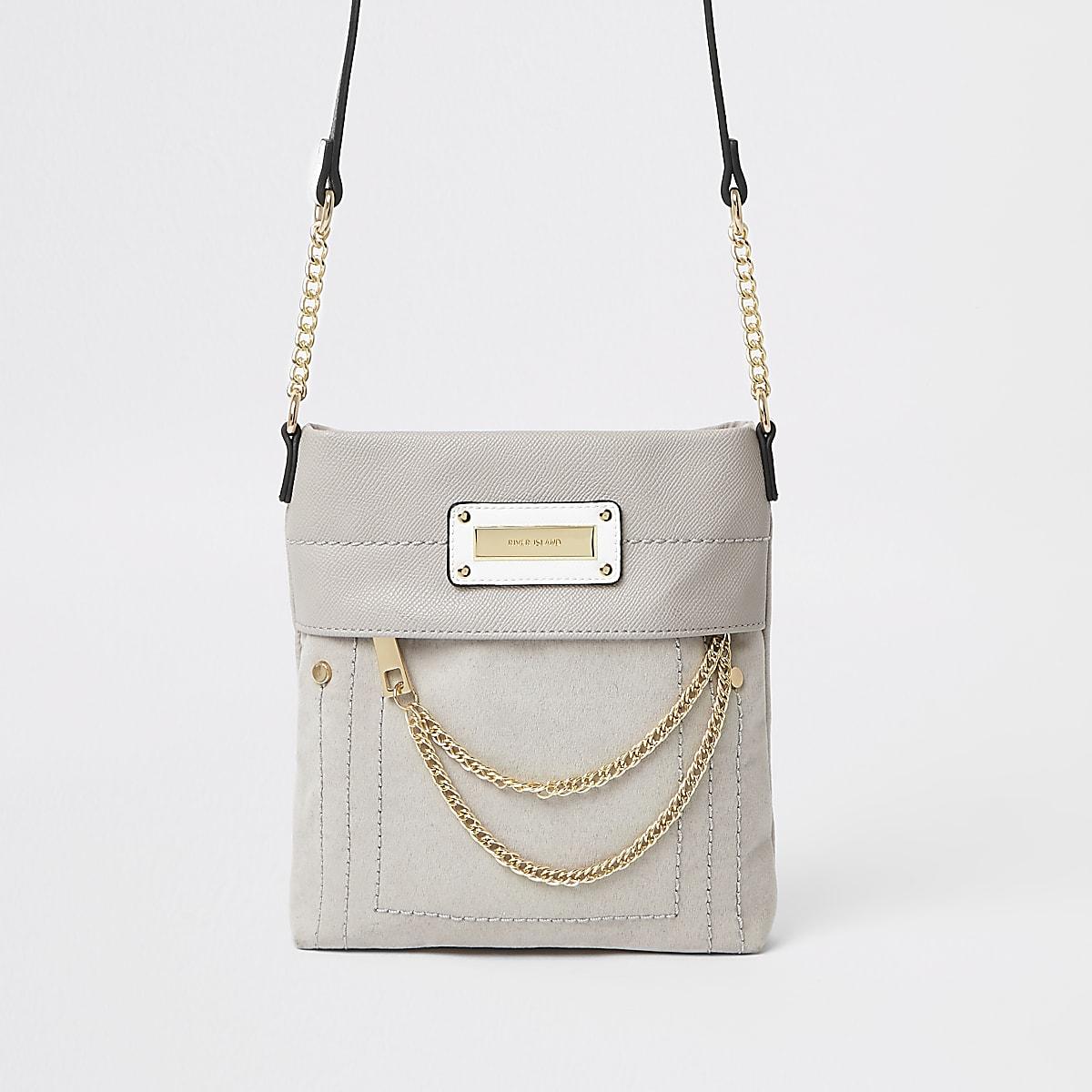 Grey chain zip front cross body bag
