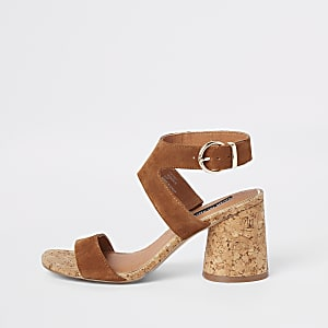Brown suede round block heel sandals