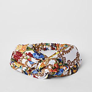 White baroque print twist headband