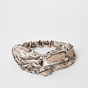 Beige snake print twist headband