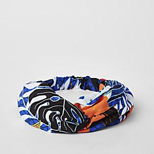 Blauwe gedraaide hoofdband met RI-logo