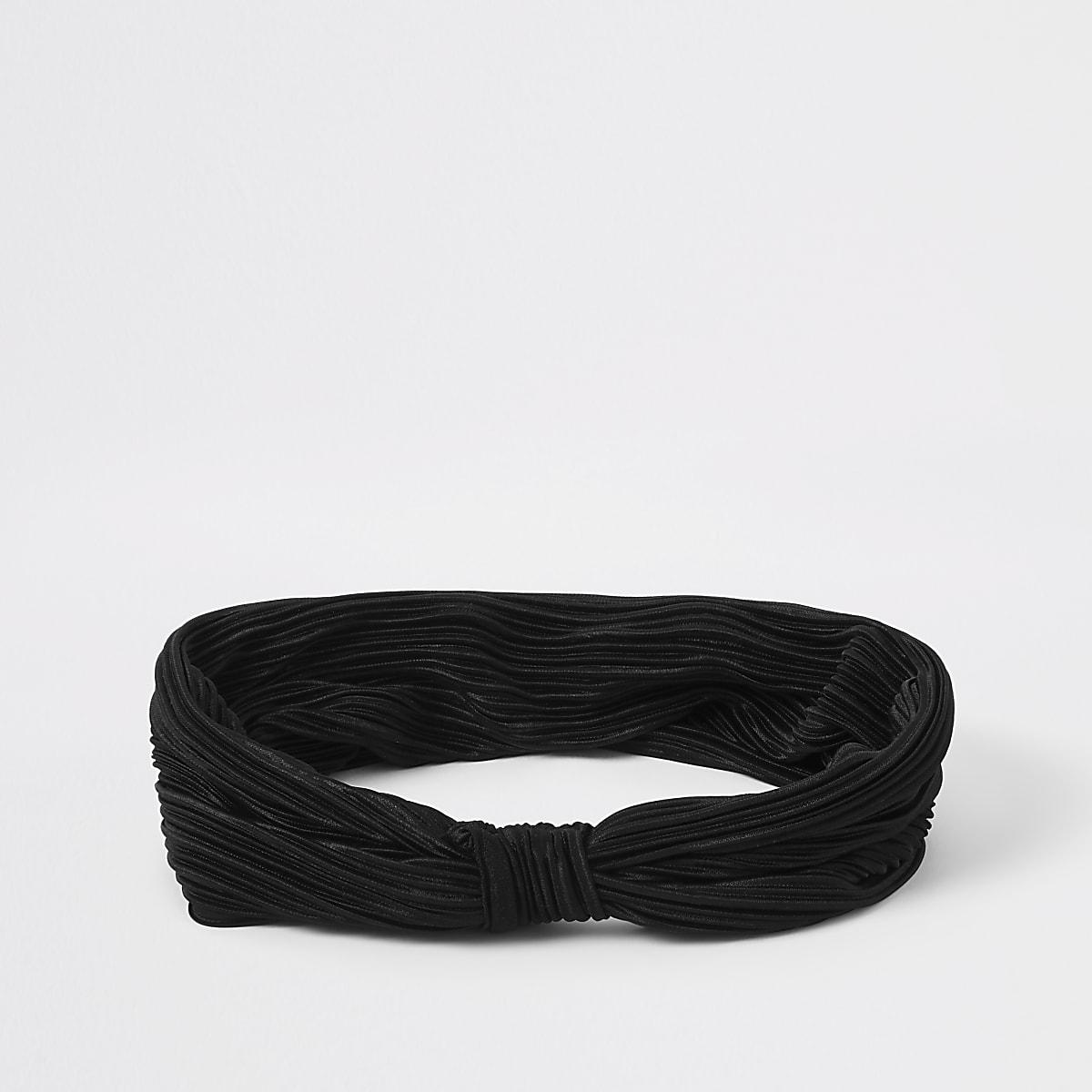 Zwarte plissé hoofdband met knoop