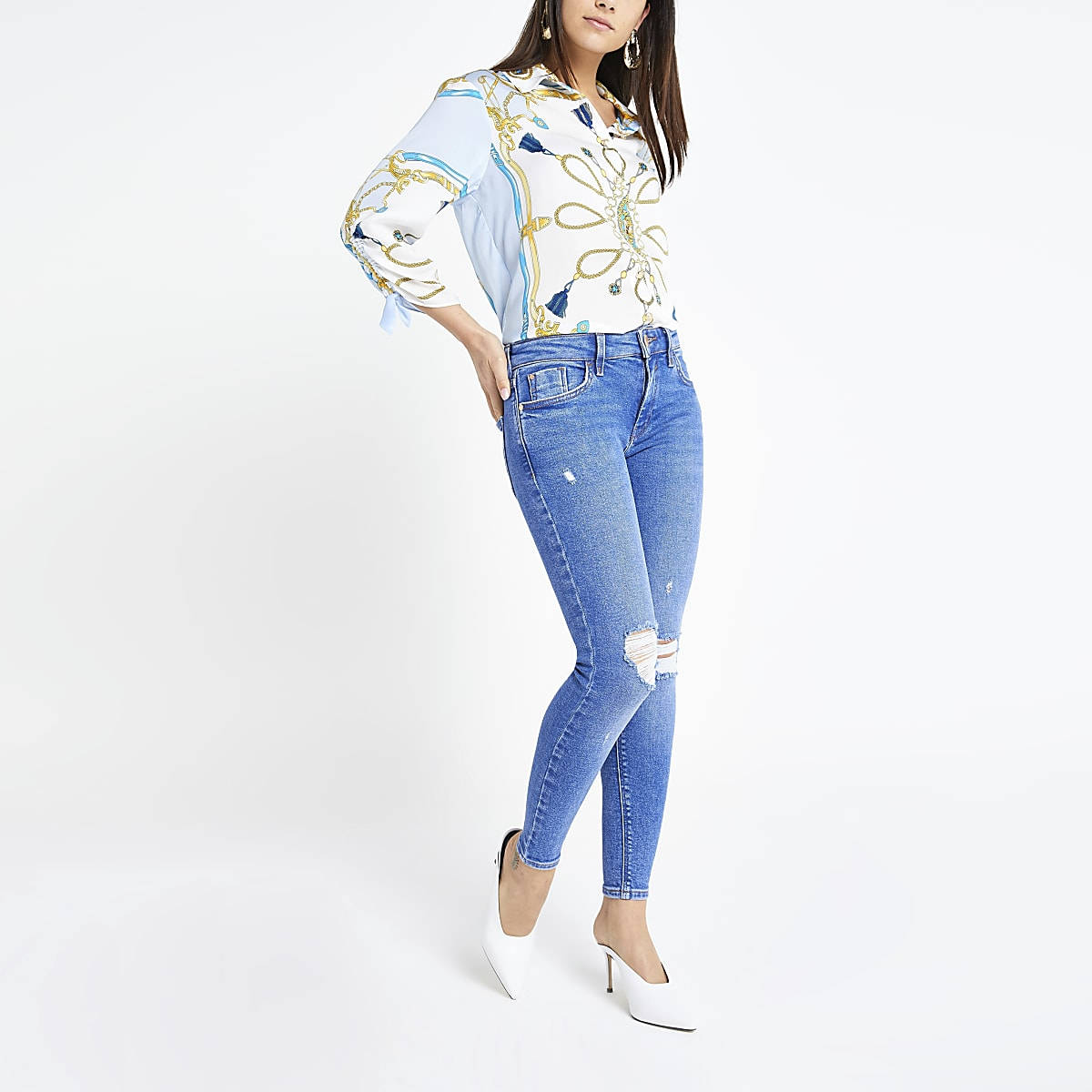 Petite – Amelie – Jean super skinny bleu vif