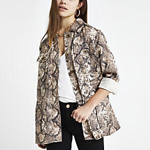 Petite beige snake print utility jacket