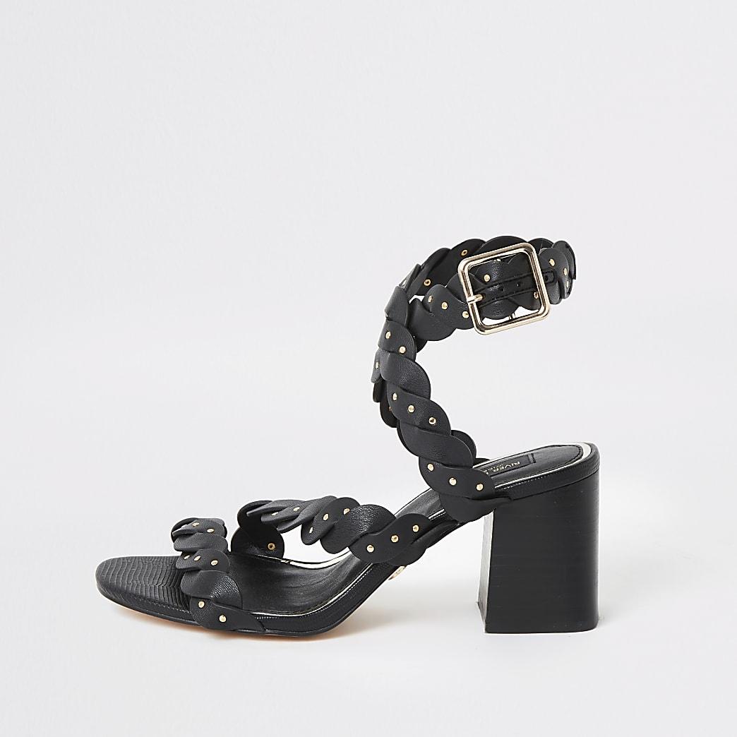 Black wide fit cross strap block heel sandals
