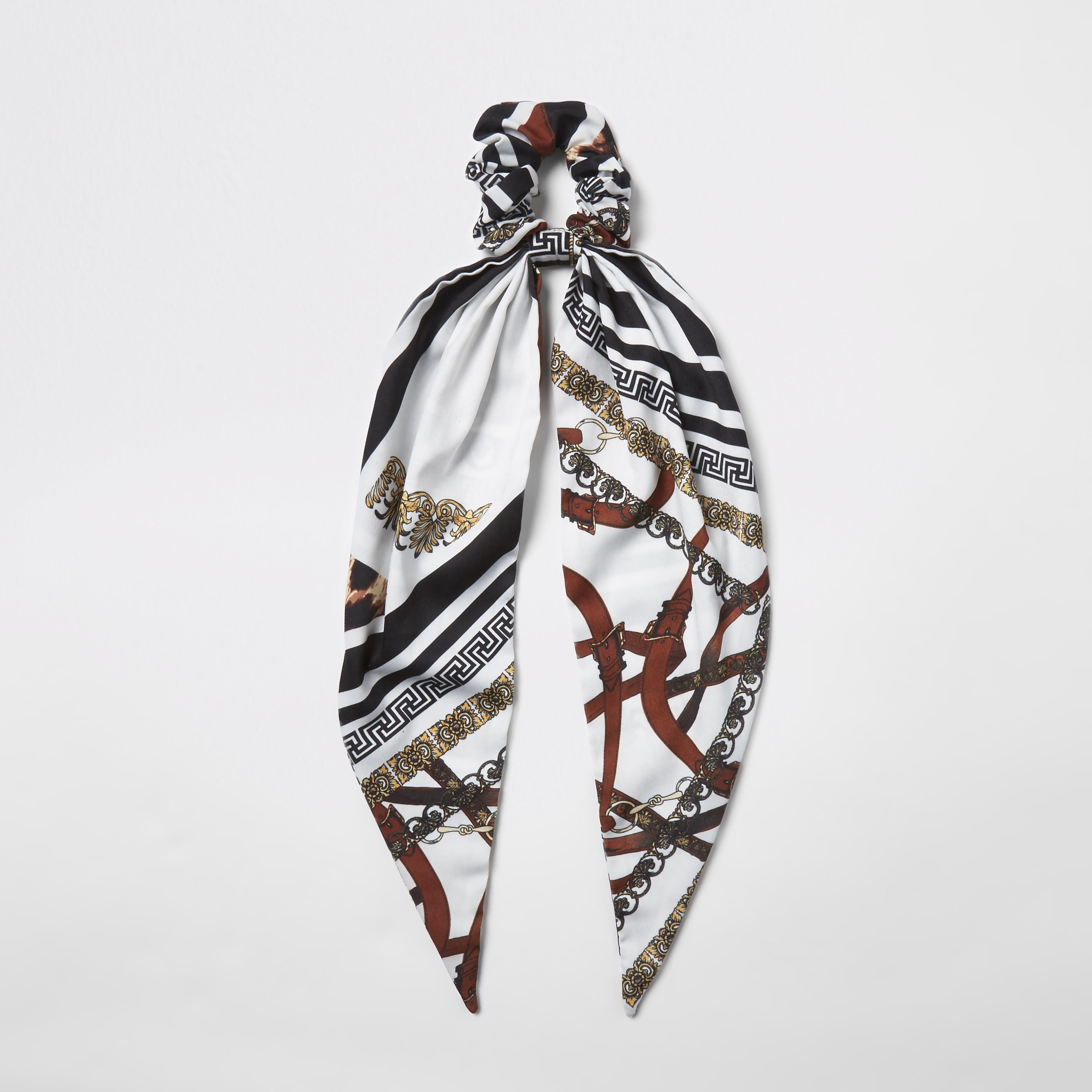 RIVER ISLAND | Womens Black Chain Print Scrunchie Scarf | Goxip