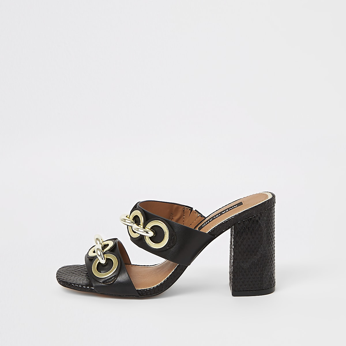 Black chain block heel mules