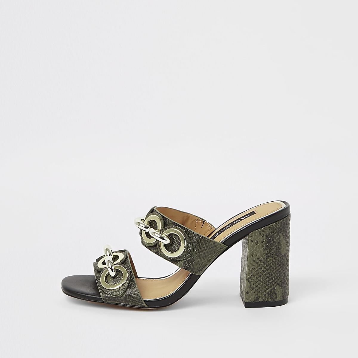 Khaki chain block heel mules
