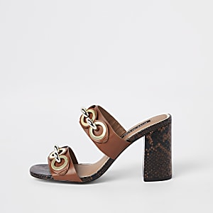Brown chain block heel mules