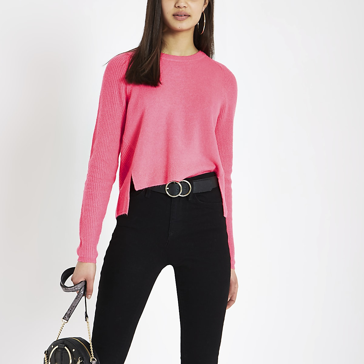 Bright pink knitted crop sweater