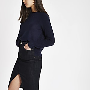 Navy knitted long sleeve crop jumper